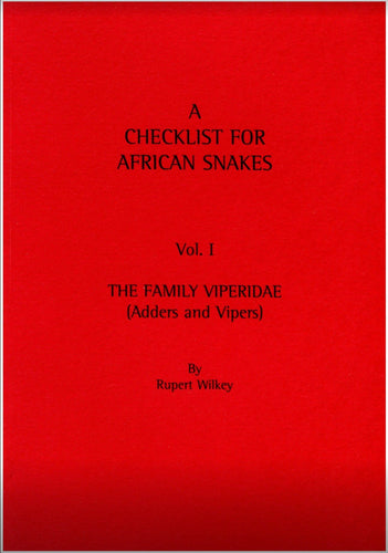 Checklist of African Snakes. Vol. I. Vipers & Adders