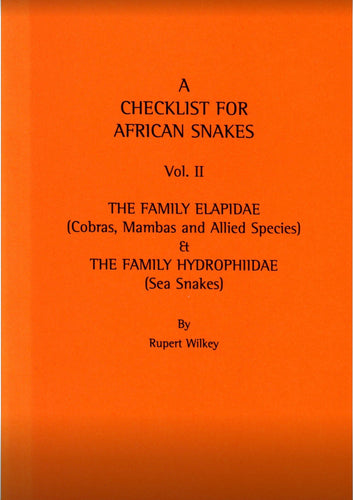 Checklist of African Snakes. Vol. II. Cobras, Mambas and Allied species