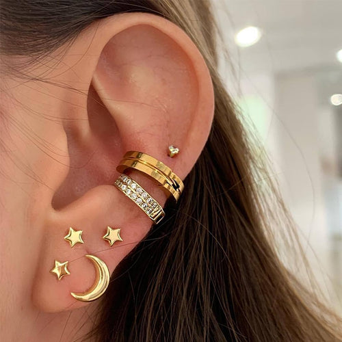 Star Moon Stud Earring Set - LVNGROSE