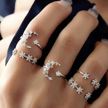 Load image into Gallery viewer, Crystal Star Moon Ring Set - LVNGROSE