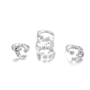 Crystal Star Moon Ring Set - LVNGROSE