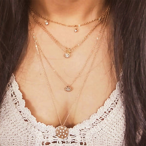 Hollow Flower Crystal Necklace - LVNGROSE
