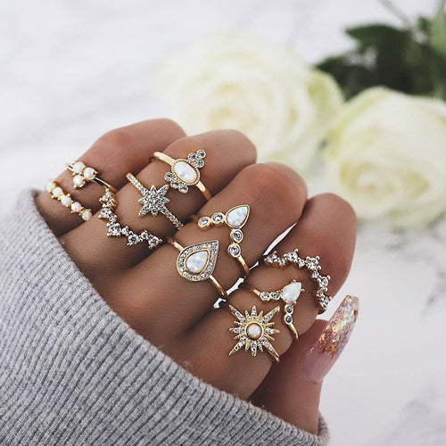 Exquisite Crystal Star Crown Ring Set - LVNGROSE