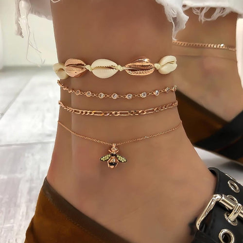 LVNGROSE-Bee Shell Anklet -fashion-handbags-jewelry-fashionnova-2019-trending-jewelry-best-jewelry-trends-kylie-jenner