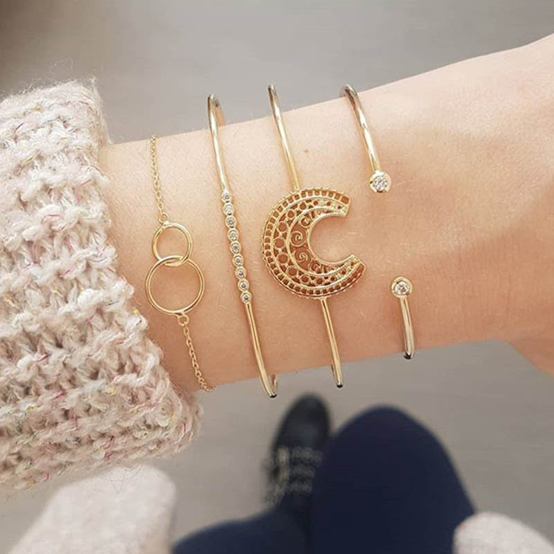 Carving Moon Bracelet Set - LVNGROSE