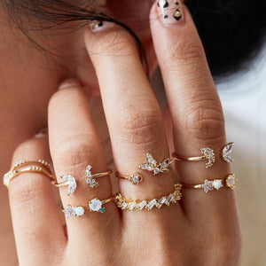 Delicate Butterfly Moon Ring Set - LVNGROSE