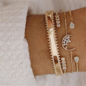 Multi Crystal Moon Water Drop Bracelet Set - LVNGROSE