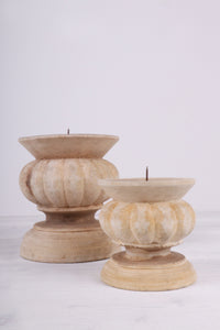 SELENE - Set de 2 bougeoirs bois NATUREL