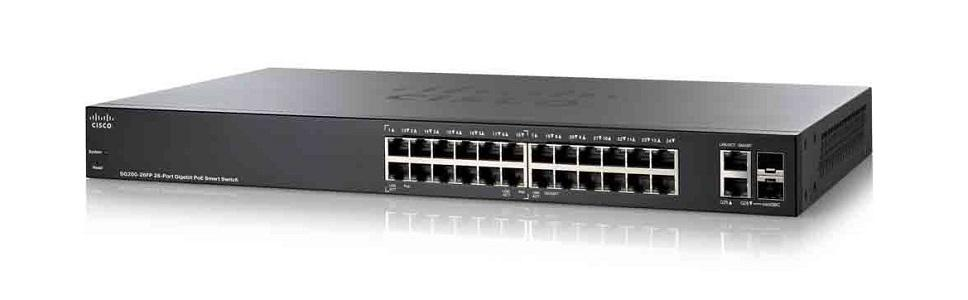 SG220-26P-K9-NA Cisco SG220-26P Small Business Smart Switch, 24 Gigabit/2 Combo Mini GBIC Ports, PoE (New)