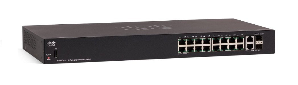 SG250-18-K9-NA Cisco SF250-18 Smart Switch, 16 Gigabit/2 SFP Combo Ports (New)