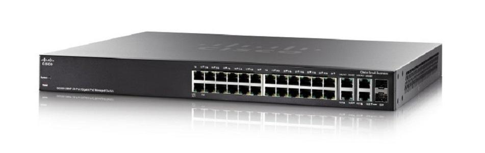SG300-28PP-K9-NA Cisco Small Business SG300-28PP Managed Switch, 26 Gigabit/2 Mini GBIC Combo Ports, 180w PoE (New)