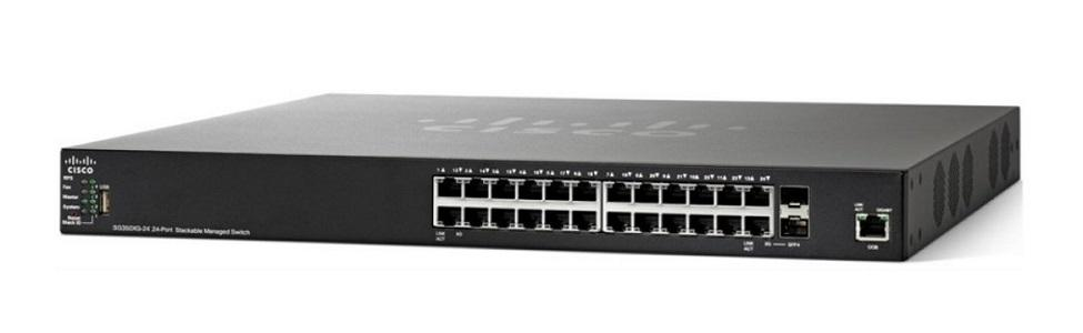 SG350X-24P-K9-NA Cisco SG350X-24P Stackable Managed Switch, 24 Gigabit PoE+ with 2 10Gig/10Gig SFP+ Combo and 2 SFP+ Ports, 195w PoE (New)