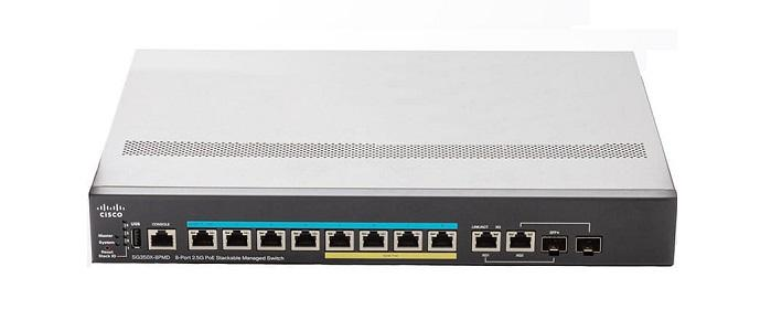 SG350X-8PMD-K9-NA Cisco SG350X-8PMD Stackable Managed Switch, 8 2.5G PoE+ and 2 10Gig/10Gig SFP+ Combo Ports, 240w PoE (New)