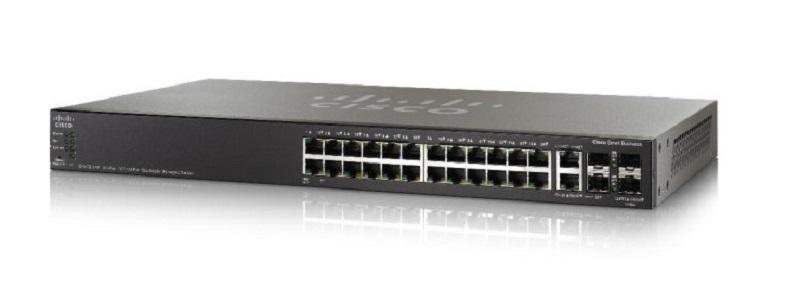 SG550X-24-K9-NA Cisco SG550X-24 Stackable Managed Switch, 24 Gigabit and 4 10Gig Ethernet Ports (New)