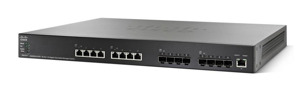 SG550XG-8F8T-K9-NA Cisco SG550X-8F8T Stackable Managed Switch, 8 10Gig Ethernet 10GBase-T and 8 10Gig Ethernet SFP+ Ports (New)