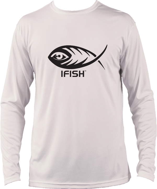 IFISH white long sleeve performance shirt with black logo