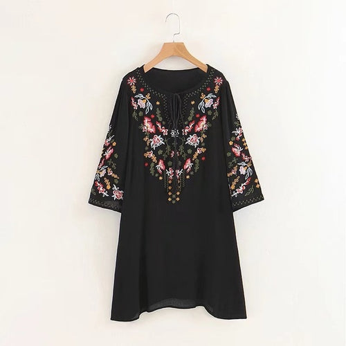 Boho Embroidery Tassel Dress