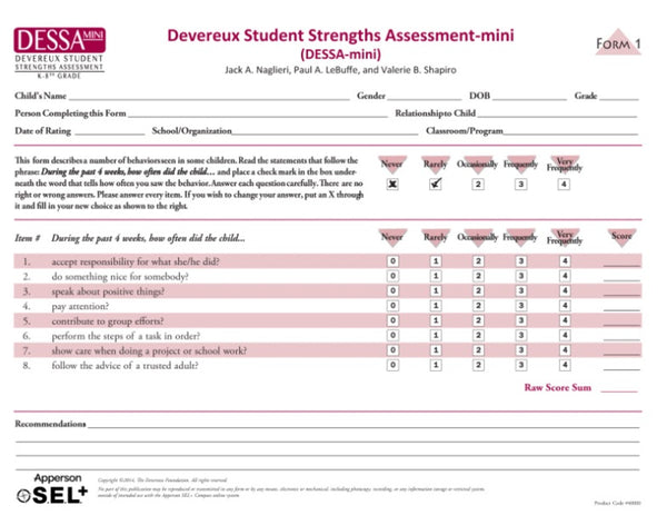 DESSA-Mini Stage 1 Assessment Forms (set of 25)