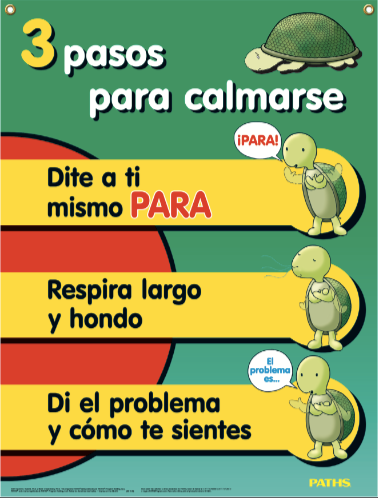 """3 Steps for Calming Down"" Poster [Spanish]"