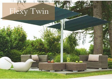 FIM Flexy Twin Aluminum 8u0027 X 17u0027 Rectangular Offset Patio Umbrella
