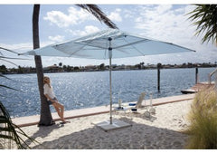Giant Square Polished Aluminum Patio Umbrella