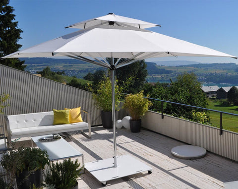 Giant Rectangular Polished Aluminum Patio Umbrella