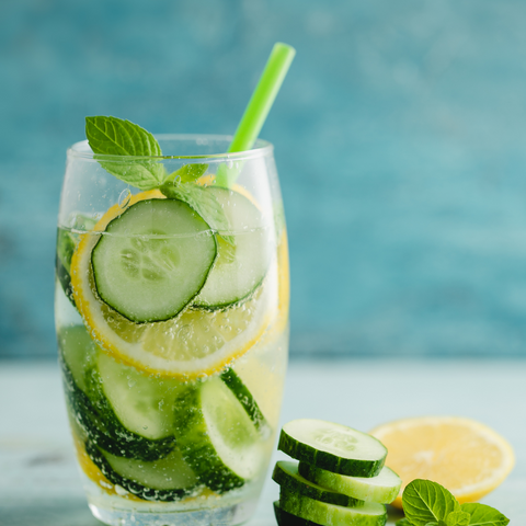 cucumber and lemon water with bella botanicals