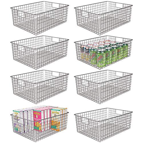mDesign Farmhouse Decor Metal Wire Food Organizer Storage Bin Baskets with Handles for Kitchen Cabinets, Pantry, Bathroom, Laundry Room, Closets, Garage, 8 Pack – Graphite Gray