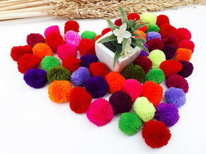 Handmade Pom Poms Hmong Hill Tribe Pom Pom Multi Color Pompom Yarn craft supplies decorations mix color 50 pcs - PY01-3.0
