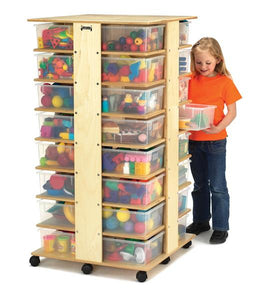 Jonti-Craft 03540JC Mobile Storage Tower with 32 Clear Tubs