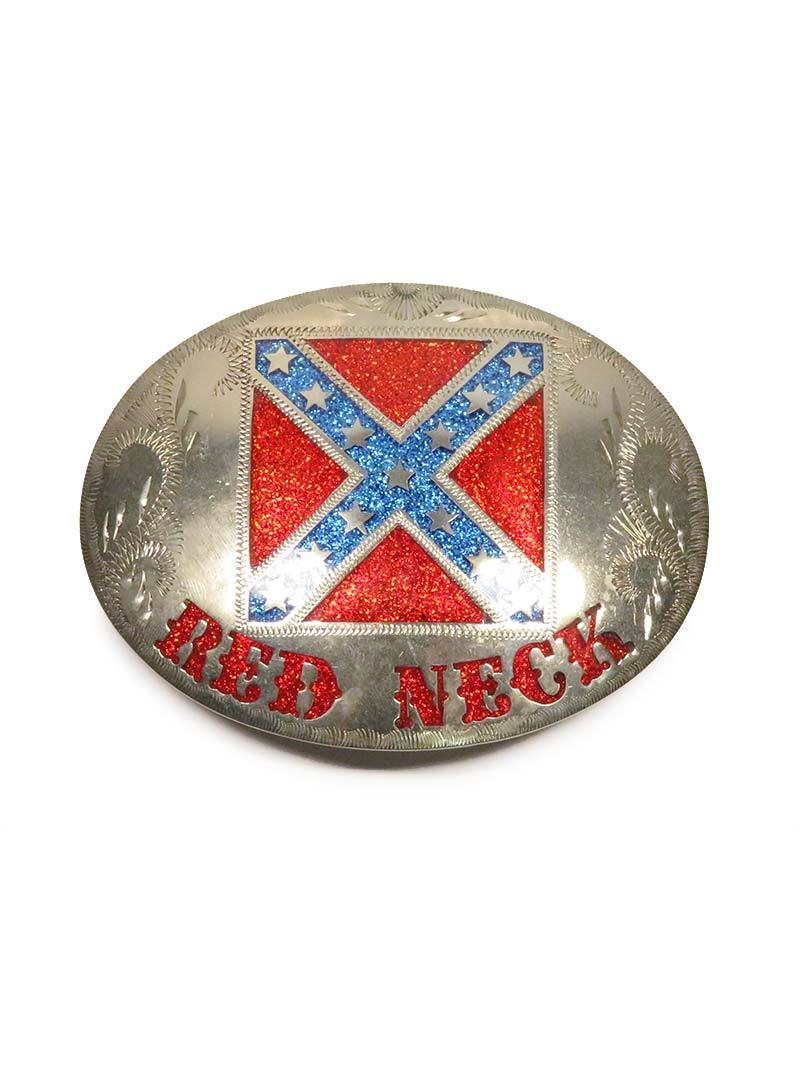 Johnson & Held Silver Rebel Red Neck Handcrafted Belt Buckle
