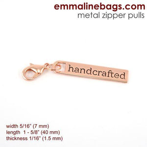 "Zipper Pulls: ""handcrafted"" Copper Finish Emmaline Bags"