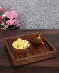 Handcrafted Wooden Serving Tray In Sheesham Wood