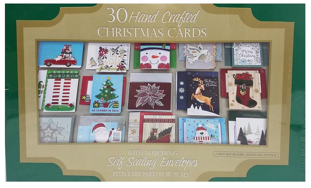 Hand Crafted 30-Count Christmas Cards with Self Sealing Embossed Foil Envelopes