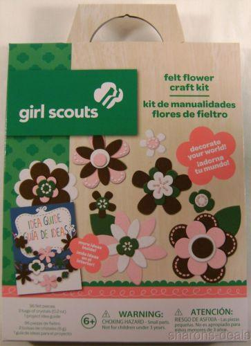 Girl Scouts Felt Flower Craft Kit Lot 3 Idea Guide Project Colorbok Crystals NEW