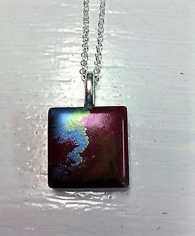 Handcrafted unique Red and Blue Resin pendant with chain