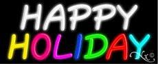 Happy Holiday Handcrafted Real GlassTube Neon Sign