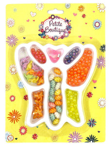 Girls Pretty Craft BEADS KIT in BUTTERFLY TRAY -Necklace, Bracelets & Jewellery  9077