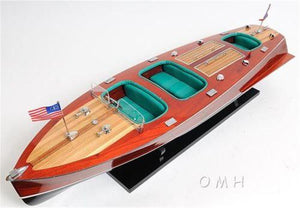 Handcrafted Chris Craft Triple Cockpit Painted Wooden Model Boat B035
