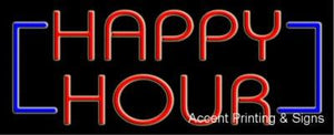 Happy Hour Handcrafted Real GlassTube Neon Sign