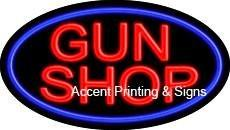 Gun Shop Flashing Handcrafted Real GlassTube Neon Sign