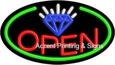 Jewelry Open Flashing Handcrafted Real GlassTube Neon Sign