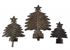 "Haitian Metal Wall Art Handcrafted Standing  Table 6"" Christmas Tree 3 Pc Set"