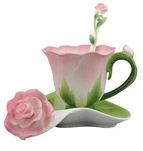 Hand Crafted Pink Rose Bud Cup Collection Porcelain Spoon Saucer Collectable Whimsical Home Accent