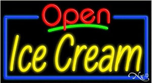 Ice Cream Open Handcrafted Energy Efficient Glasstube Neon Signs