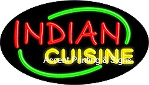 Indian Cuisine Flashing Handcrafted Real GlassTube Neon Sign