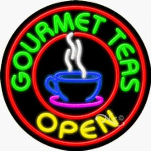 Gourmet Teas - Open Handcrafted Energy Efficient Real Glasstube Neon Sign
