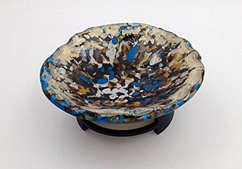 Handcrafted Fused Glass Decorative Bowl with Gold Metallic Accents and Stand