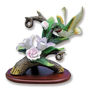 Hand Crafted Hummingbird Figurine Porcelain with Lily Flower on Wood Base(2737)