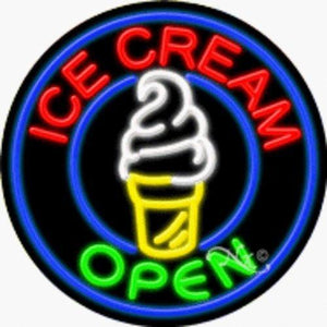 Ice Cream - Open Handcrafted Energy Efficient Real Glasstube Neon Sign
